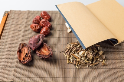 Chinese Herbal Medicine on the table.